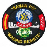 Embroidery patch CORONAVIRUS COVID-19 MADRID RESISTE SAMUR PC 9cm