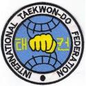 Patch embroidery TAEKWONDO FEDERATION INTERNATIONAL 4CM
