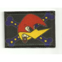 Embroidery and textile patch WOODY WOODPECKER FLAG 3,5cm x 2,5cm
