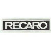 Parche bordado RECARO NEGRO / BLANCO / BLANCO 90mm x 25mm