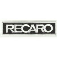 Patch embroidery RECARO BLACK / WHITE / WHITE 90mm x 25mm