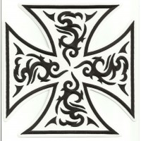 embroidery patch MALTESE CROSS TATTOO WHITE 21cm