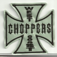 embroidery patch CRUZ WEST CHOPPERS GRIS 8cm x 8cm