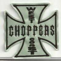 Parche bordado CRUZ WEST CHOPPERS GRIS 8cm x 8cm