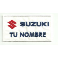 Parche bordado SUZUKI CON TU NOMBRE 10cm X 5cm