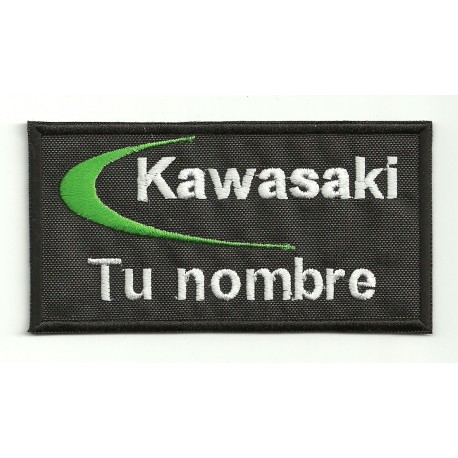 Parche bordado KAWASAKI CON TU NOMBRE 10cm X 5cm