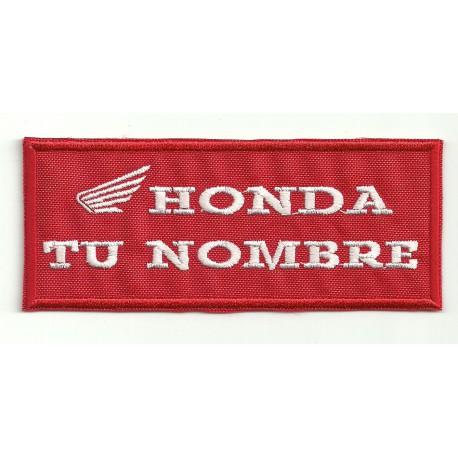 Parche bordado HONDA CON TU NOMBRE 10cm X 5cm
